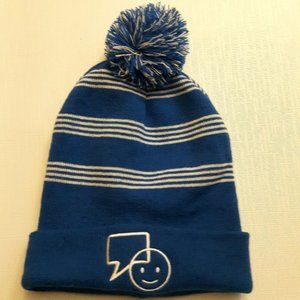 Bell Let's Talk Day White and Blue Striped Toque